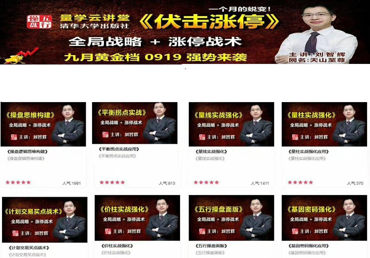 量学云讲堂黑马王子金牌讲师刘智辉伏击涨停干货课程