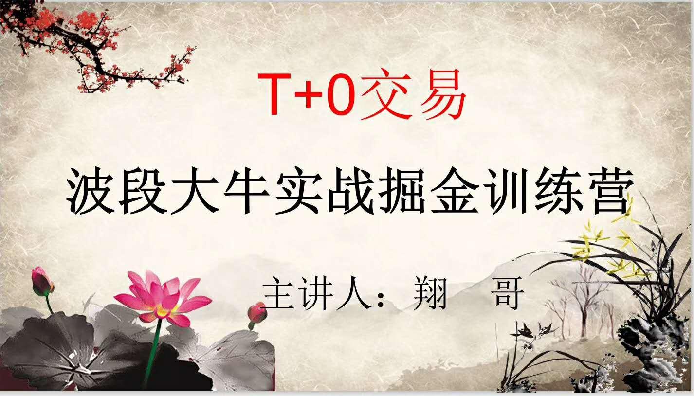 翔哥擒龙T+0交易波段大牛实战掘金训练营